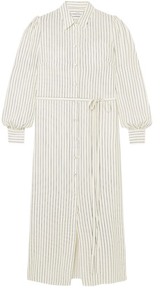 Co Belted Striped Silk-cady Shirt Dress