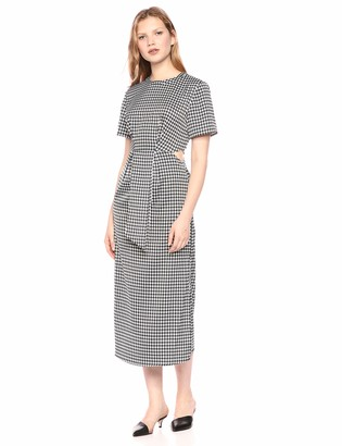 C/Meo Women's PROVIDED Short Sleeve Mock Neck Cut-Out MIDI Dress