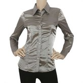 Blouses Mememall Fashion Lady Satin Charmeuse L/Slv Button Down Solid Collar Shirts Blouse