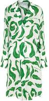 Off-White Off White Leaves Illusion Coulisse Printed Shirt Dress