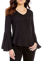WAYF V-Neck Bell Sleeve Blouse
