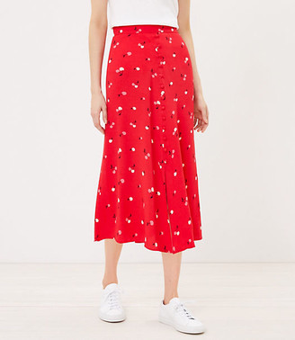 LOFT Cherry Button Midi Skirt