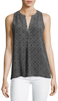 Joie Aruna Sleeveless Printed Silk Top, Gray