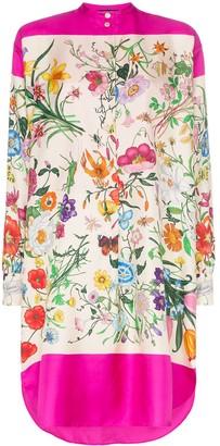 Gucci Multicoloured Floral Print Silk Shirt Dress