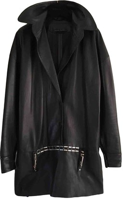 Anthony Vaccarello Black Leather Dresses