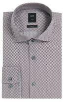 Hugo Boss T-Randolph Slim Fit, Italian Cotton Twill Dress Shirt L Brown