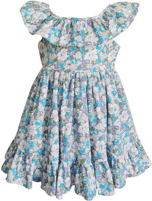 Popatu Floral Print Ruffle Collar Dress