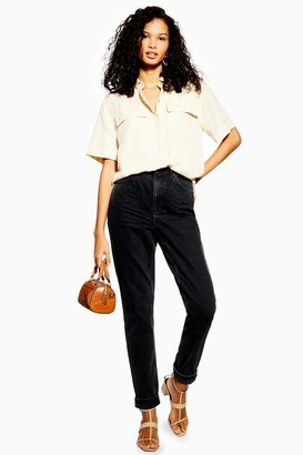 Topshop Womens Petite Washed Black Mom Jeans - Washed Black