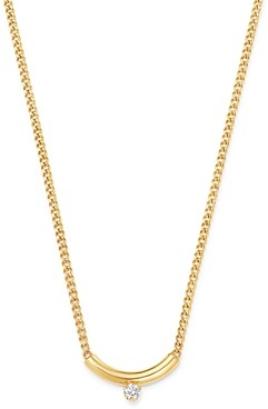 Zoë Chicco 14K Yellow Gold Prong Diamonds Curved Bar Diamond Pendant Necklace, 14-16