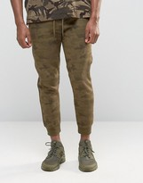Pull&bear Skinny Fit Camo Joggers In Khaki