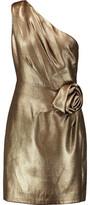 Halston One-Shoulder Flower-Embellished Lamé Mini Dress
