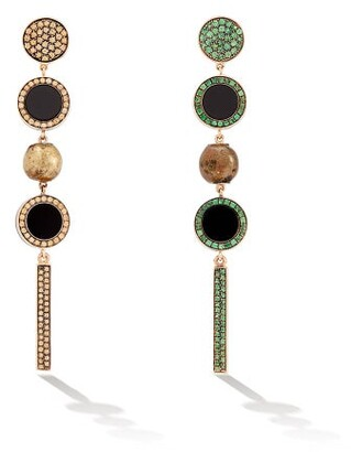 Francesca Villa Tom Thumb Mismatched Sapphire & Tsavorite Earrings - Green