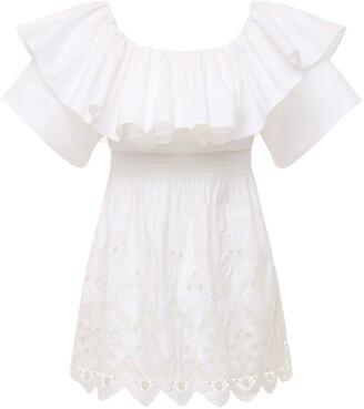Self-Portrait Off-The-Shoulder Cotton Broderie Dress