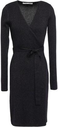 Diane von Furstenberg Metallic Ribbed Wool-blend Wrap Dress