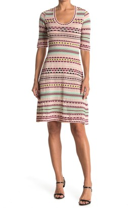 M Missoni Geometric Print 3/4 Sleeve Dress