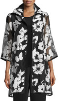 Caroline Rose Flutter Devore Sheer-Sleeve Topper, Black/White