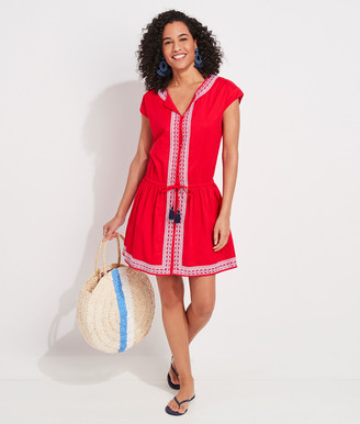Vineyard Vines Lattice Embroidered Blouson Dress
