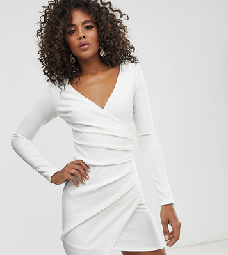 Club L London Tall long sleeve asymmetric midi dress in white