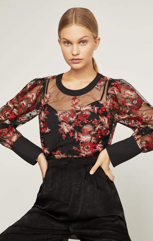 BCBGMAXAZRIA Floral Embroidered Puff Sleeve Top