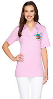As Is Quacker Factory Petite Fleur Short Sleeve Polo Shirt