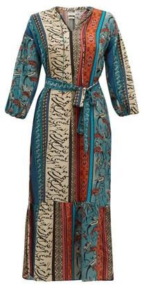 CHUFY Alqamar Calligraphy-print Satin-crepe Dress - Blue Multi