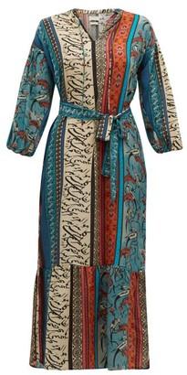 Chufy - Alqamar Calligraphy-print Satin-crepe Dress - Womens - Blue Multi