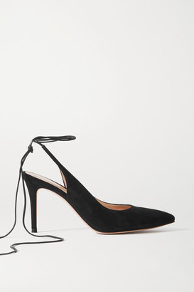 Gianvito Rossi 85 Leather-trimmed Suede Pumps - Black