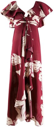 Johanna Ortiz Draped Front Floral Print Dress