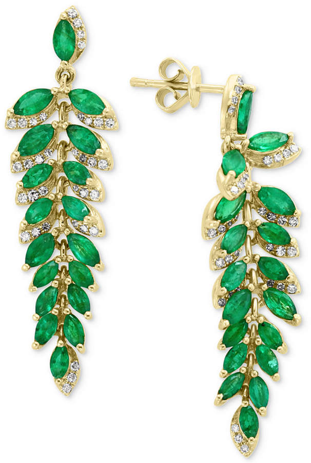 Effy Emerald (4-1/3 ct. t.w.) & Diamond (1/4 ct. t.w.) Drop Earrings in 14k Gold