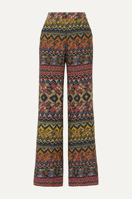 Etro Printed Wool And Silk-blend Twill Wide-leg Pants - Blush