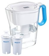 Brita Wave Filtered Water Filter Pitcher 10 Cup Capacity Includes 2 Filters Various Colors (White-Blue Handle)