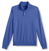 Classic Men's Big Performance Soft Button Mock Sweater-True Blue