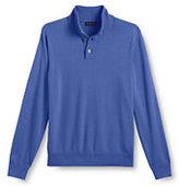 Classic Men's Regular Performance Soft Button Mock Sweater-Sail Blue Double Stripe
