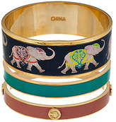 C. Wonder Set of 3 Elephant Print & Solid Enamel Round Bangles