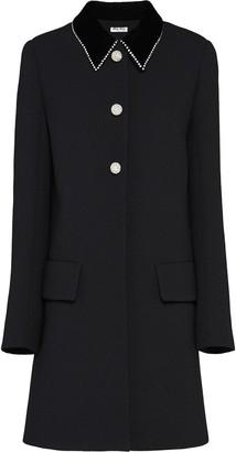 Miu Miu embellished natté crepe coat