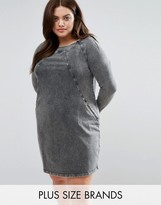 Junarose Acid Wash Denim Shift Dress With Zip Detail