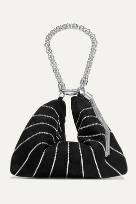 Jimmy Choo Callie Crystal-embellished Suede Shoulder Bag - Black
