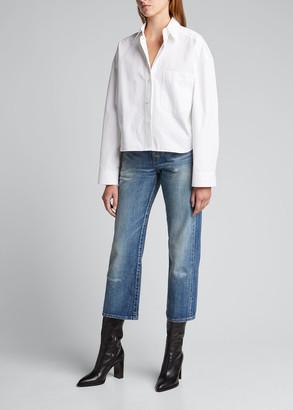 Saint Laurent Distressed Cropped Denim Jeans