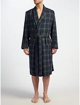 John Lewis Blackburn Check Brushed Cotton Robe, Navy/green