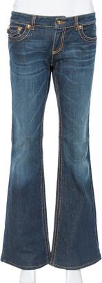 Roberto Cavalli Dark Blue Denim Logo Detail Bootcut Jeans L