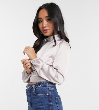 Miss Selfridge Petite satin top with high neck in oyster