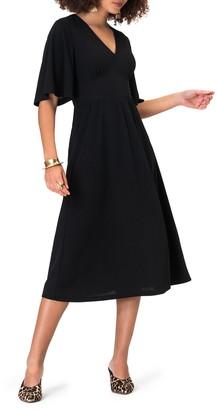 Leota Zoe Flutter Sleeve Midi Dress