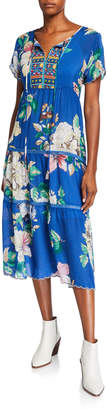 Johnny Was Petite Holly Floral Short-Sleeve Tiered Mid-Calf Dress
