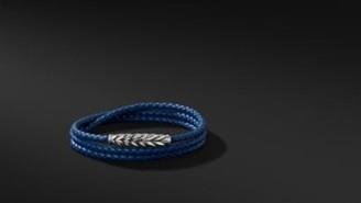 David Yurman Chevron Triple-Wrap Bracelet In Blue
