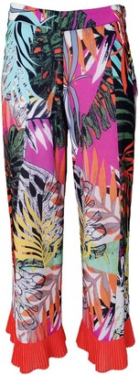 Lalipop Design Colorful Abstract Floral-Print Wide-Leg Pants With Pleated Cuffs
