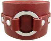 Zeckos Leather Chrome O Ring Wristband Bracelet