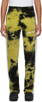 Palm Angels Black and Yellow Chenille Tie-Dye Track Pants
