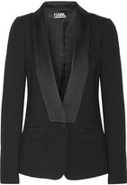 Karl Lagerfeld Satin-trimmed Stretch-ponte Blazer - Black