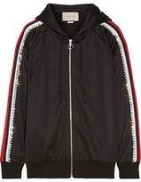 Gucci Swarovski Crystal-embellished Striped Tech-jersey Hooded Top - Black