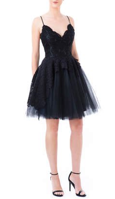 Nha Khanh Sleeveless Paeonia Lace & Tulle Fit-&-Flare Dress